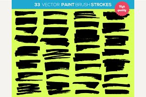 33 vector paint brushes. Ink strokes