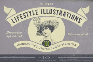 100 Vintage Lifestyle Illustrations