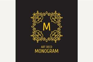 Vintage floral logo floral monogram