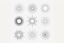 9 Art deco sunbursts collection
