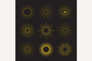 9 Art deco vintage sunbursts collect