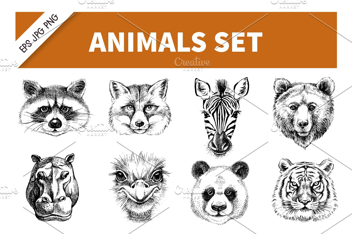 Save hand drawn sketch animals portraits