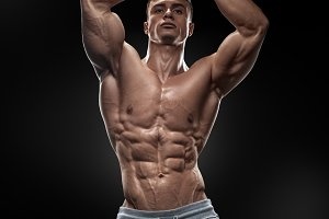 Muscular and fit young bodybuilder