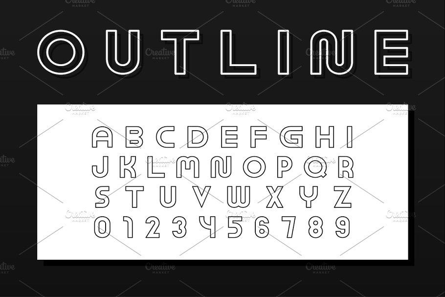 English outline vector alphabet