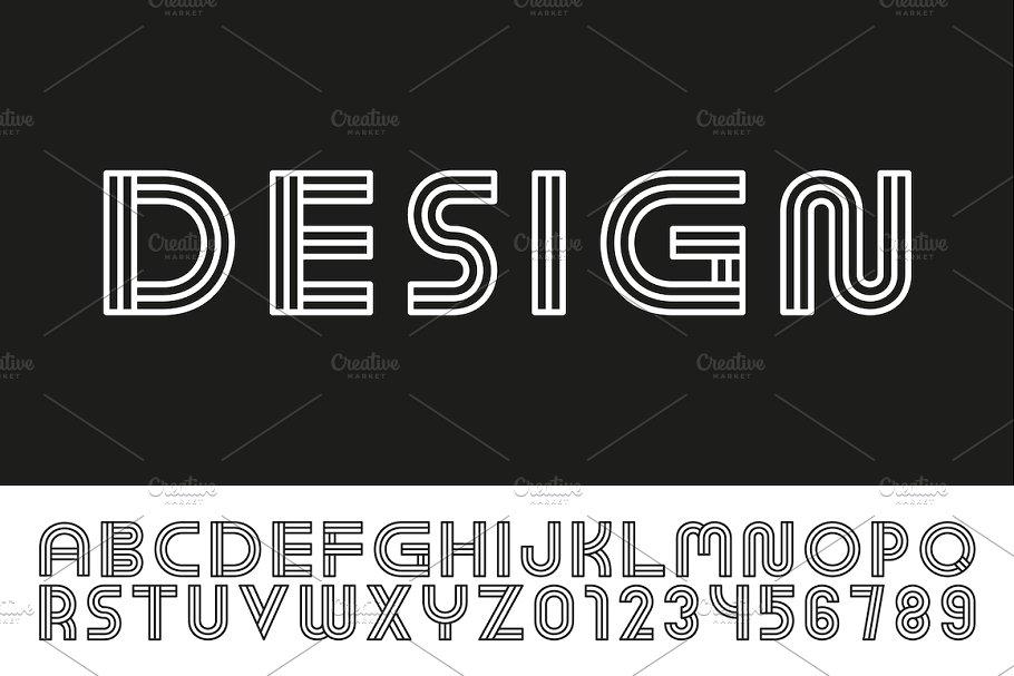 Striped stylized English alphabet