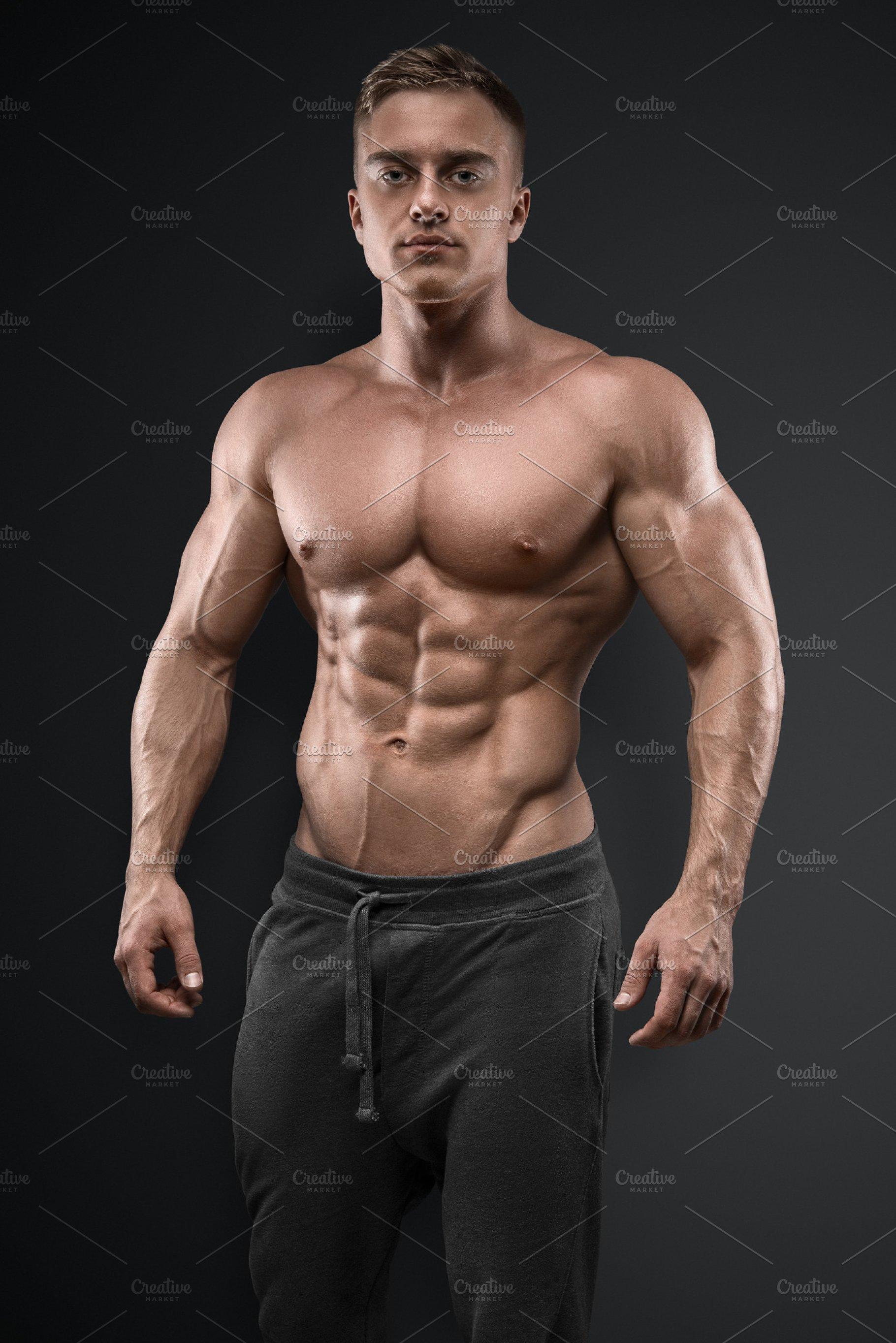 Athletic man stock photo. Image of abdomen, outdoors