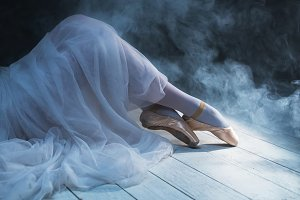 Ballerina legs in smoke