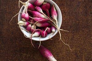 Bowl of fresh garden radishes