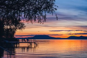 Colorful sunset at lake Balaton