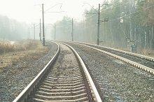 Railroad leading to the horizon