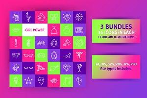 Girl Power Line Art Icons