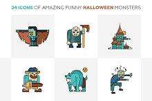 Halloween Monsters 24 Line Icons Set