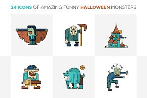 Halloween Monsters 24 Line Icons Set