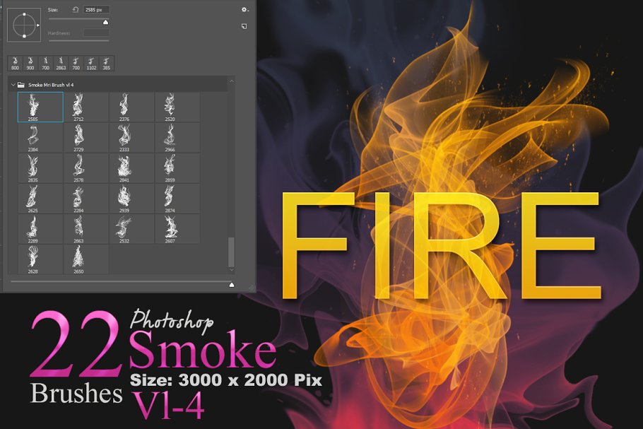 4853d3d279a7 Fire and Smoke Photoshop Brushes ~ Photoshop Add-Ons ~ Creative Market
