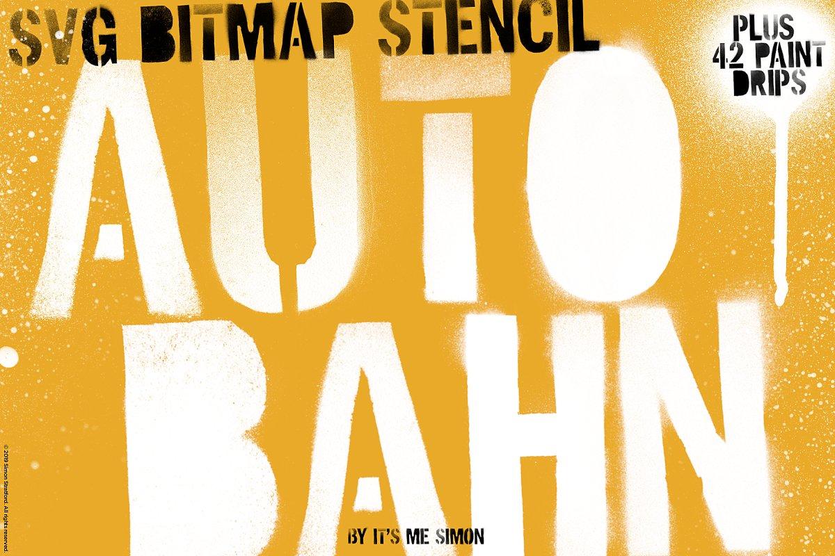 Autobahn SVG bitmap stencil font