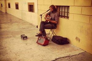 Street musician hippy style