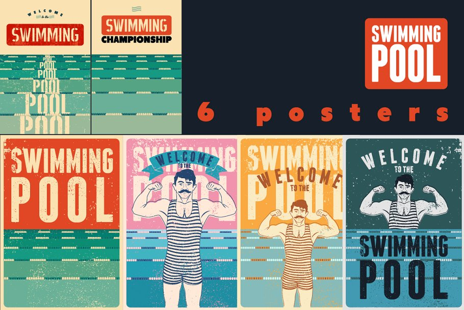 Swimming Pool vintage style posters. ~ Illustrations ...