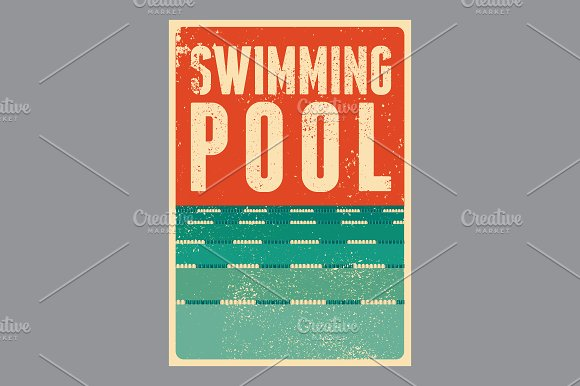 Swimming Pool vintage style posters.