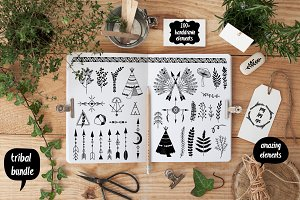 Hand Drawn design elements 100+