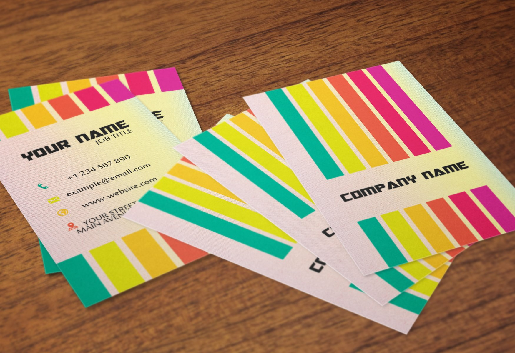 Rainbow business card business card templates creative market reheart Images