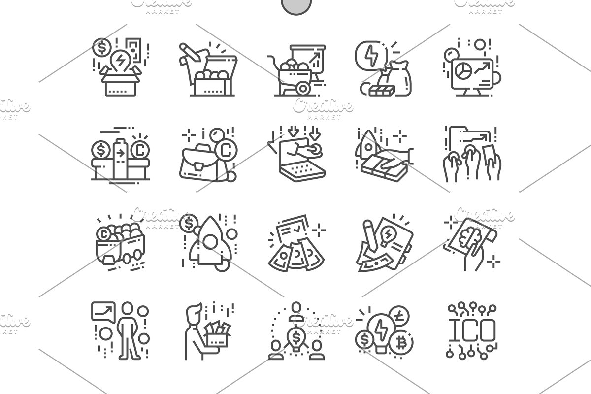 ICO token Line Icons