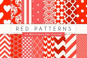 Red Patterned Digital Papers