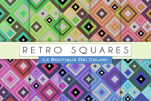 Retro Square Digital Papers