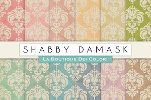 Shabby Damask Digital Textures
