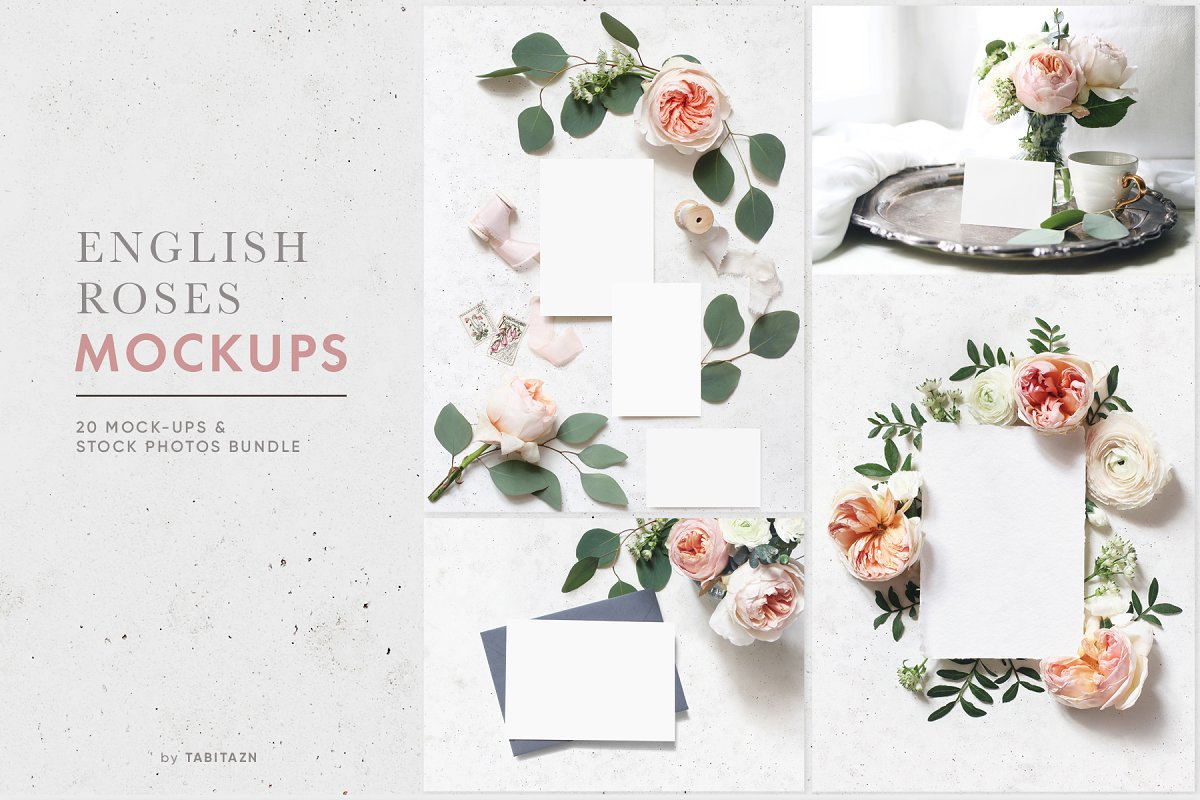 English roses wedding mockups photos