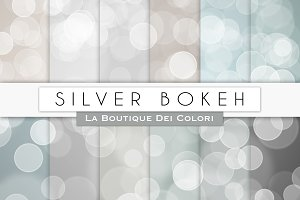 Silver Bokeh Digital Papers
