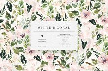 Watercolor White & Coral Patterns by  in Patterns