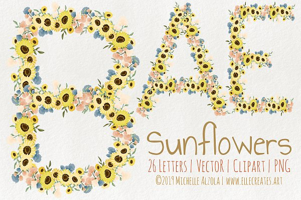 Sunflowers LETTERS Vector & Clipart