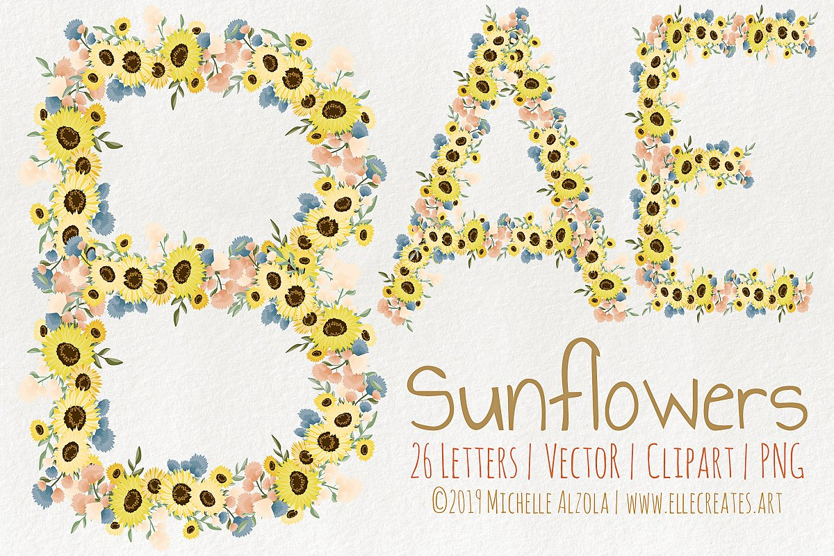 Sunflowers LETTERS Vector & Clipart in Illustrations - product preview 8