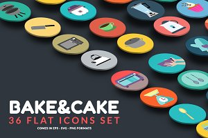 36 Bake & Cake Icons Set