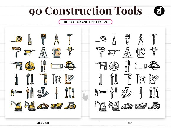 90 Construction tool elements icon