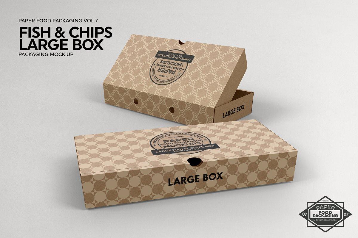 Large Fish and Chips Box Mockup