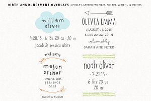 Birth Announcement Overlays - Set 3