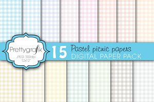 gingham picnic pattern digital paper