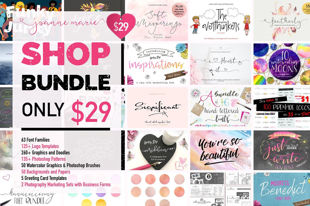 Shop bundle - fonts, logos, patterns