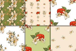 Six floral patterns