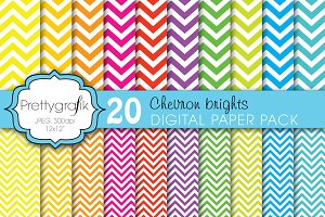 20 chevron brights digital paper