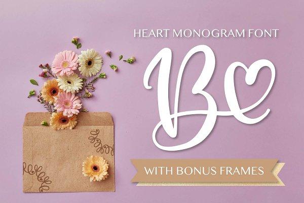 Heart Monogram Font - Hand Lettered