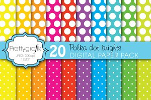 polka dot brights digital paper