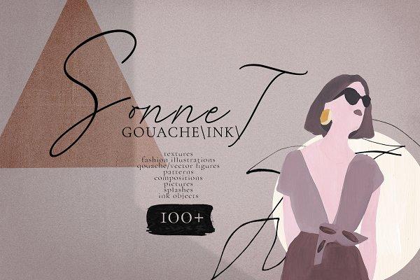 Illustrations: Kaleriiat - Sonnet -  abstract gouache/ink art