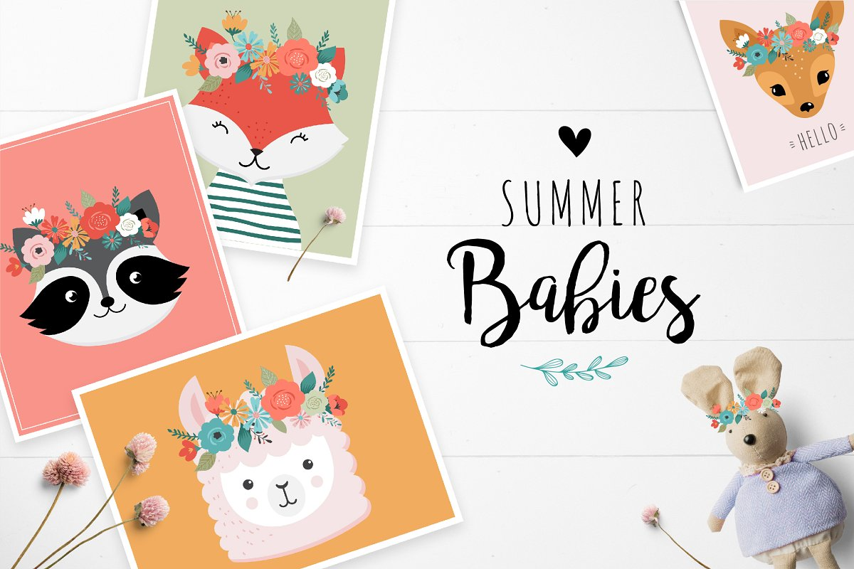 Summer Babies - set of cute animals
