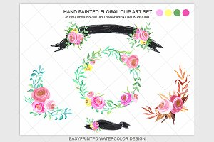 Hand Painted Flowers Clip Art Set