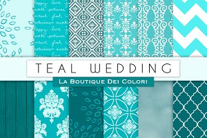Teal Wedding Digital Papers