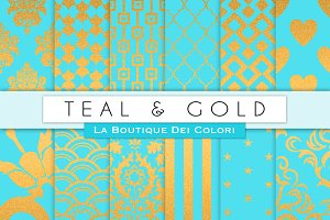 Teal & Gold Digital Papers