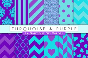 Turquoise & Purple Digital Papers