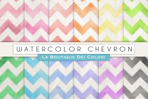Watercolour Chevron Digital Papers